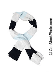 knitted scarf on white background