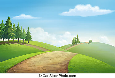 View for hill - Illustration of an outdoor to have hill...