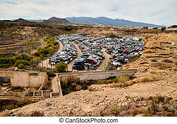 Old Junk Cars On Junkyard - Scrap Yard With Pile Of Crushed...