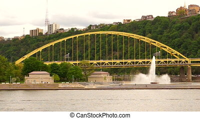 Fort Pitt Bridge Stands Behind Point State Park Fountain -...