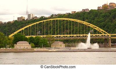 Fort Pitt Bridge Stands Behind Point State Park Fountain -...