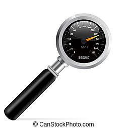 Speedometer in magnifier vector