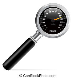 Speedometer in magnifier