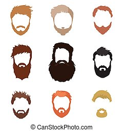 Fashionable men's hairstyle, beard, face, hair, cut-out...