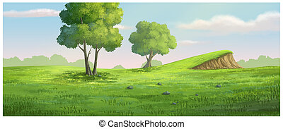 background garden green have a mound - Illustration of...