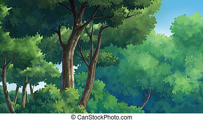 jungle and natural - Illustration of an outdoor in the...