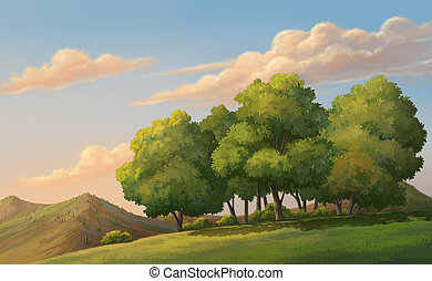 Beautiful sunset - Illustration of an outdoor and meadow