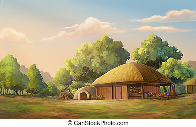 Beautiful sunset - Illustration of an home in the forest...