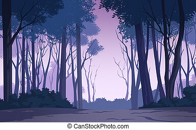 beautiful forest - illustration of a tree and graphic of...