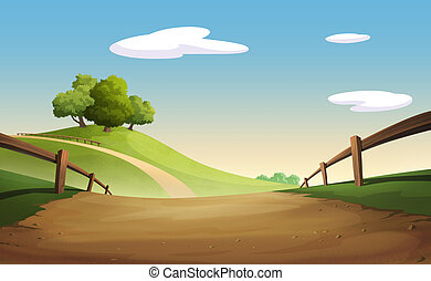 Graphic tree and hill - Illustration of an outdoor to have...