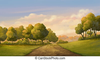 Beautiful view sunset - Illustration of an outdoor in the...
