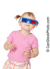 little girl with 3D glasses - photo shot of little girl with...