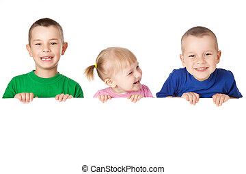 の後ろ, 板, 子供, 白, 3