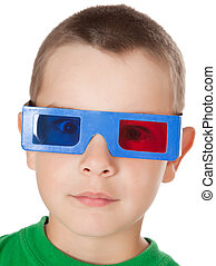 young boy with 3D glasses - studio shot of young boy with 3D...