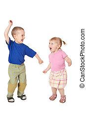 dos, bailando, niño