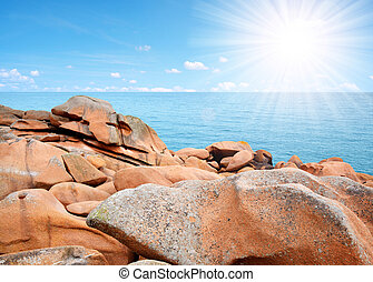 Pink Granite Coast in Brittany - Ploumanach, Pink Granite...