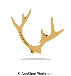 Vector Deer Horns Cartoon Illustration - Ornate outgrowth...