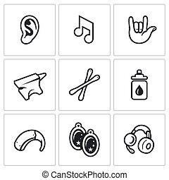 Vector Set of Deafness Icons - Problem, equipment, medicine,...