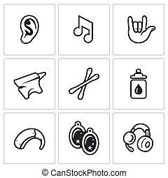 Vector Set of Deafness Icons - Problem, equipment, medicine,...