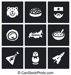 Vector Set of Russia Icons Bear, Caviar, Soldier, Dumpling,...