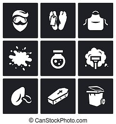 Vector Set of Cleaning after the murder Icons. Man, Morgue,...