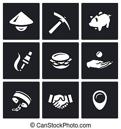 Vector Set of Cheap Labor Icons. Worker, Tool, Economy,...