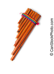 pan flute - photo shot of pan flute on white background