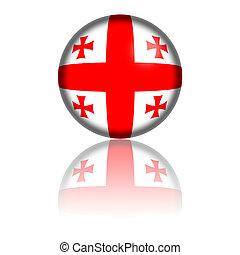 Georgia Flag Sphere 3D Rendering - 3D sphere or badge of...