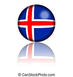 Iceland Flag Sphere 3D Rendering - 3D sphere or badge of...