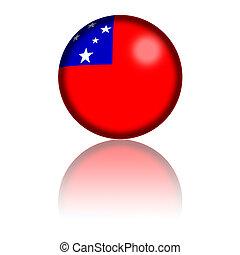 Samoa Flag Sphere 3D Rendering - 3D sphere or badge of Samoa...