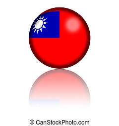 Taiwan Flag Sphere 3D Rendering - 3D sphere or badge of...