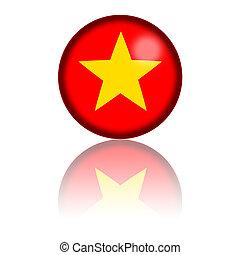 Vietnam Flag Sphere 3D Rendering - 3D sphere or badge of...