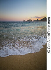 Sandy Beach View of Waves at Beach in Mexico, Cabo San Lucas