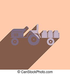 Flat icons with shadow of tractor trailer transporting milk...