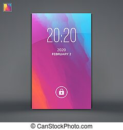 Modern Lock Screen for Mobile Apps Vector Illustration