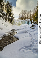 Winter View of Indian Falls in Owen Sound Ontario