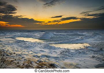 Wintery Sunset on Lake Huron Shore