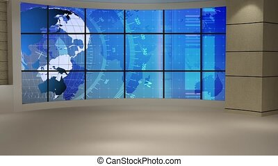 News TV Studio Set- - News TV Studio Set 138 - Virtual Green...