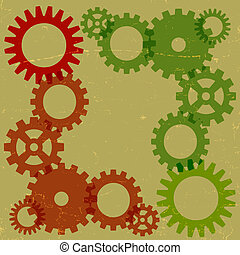 Green and orange gears background - A retro coloured grungy...