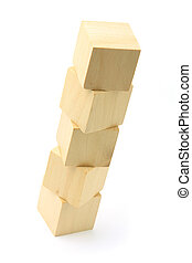 Wooden blocks tower on white background - Wooden blocks are...