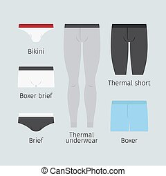 Man underwear vector icons - Man underwear. Various men...