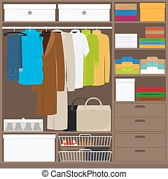 Men cloths wardrobe wuth different types of clothes Vector...
