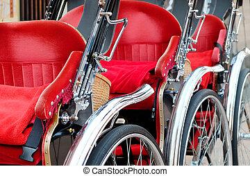 Rickshaw in tokyo - close up of Rickshaw in tokyo,Japan