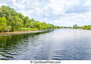 landscape river Dnieper marshes and Kherson - image...