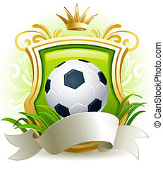 Soccer ball - banners with soccer ball, shield and crown