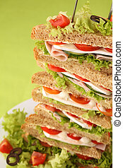 Sandwich tower - Healthy sandwiches with ham, camembert,...