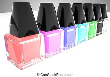 Nail polish of different colors in a row