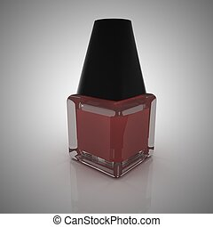 Red nail polish in a bottle