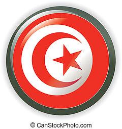 TUNISIA, shiny button flag