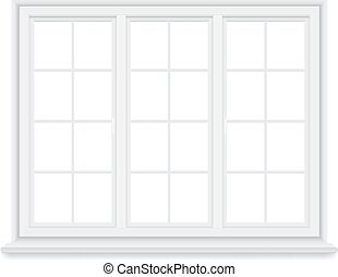 traditional big white window isolated - Traditional white...